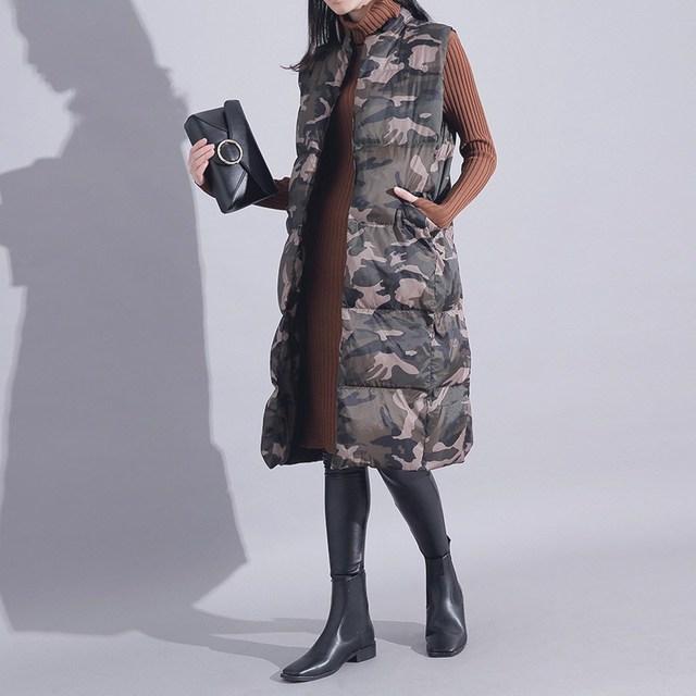 [Twotwinstyle] 2017 outono longa seção de camuflagem espessamento impressão loose women clothing vest jacket new streetwear