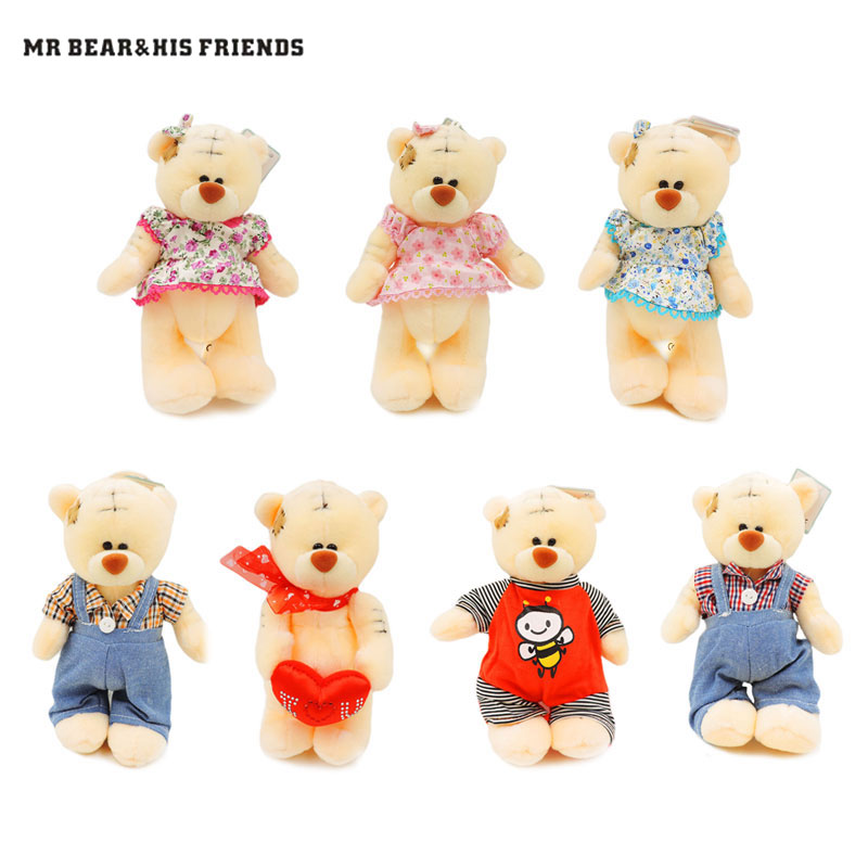 18cm Creamy White Small Teddy Bears Stuffed Dolls Tatty Teddy Plush Pendants Decor Toys for Children Kids Gifts Collection fancytrader new style giant plush stuffed kids toys lovely rubber duck 39 100cm yellow rubber duck free shipping ft90122
