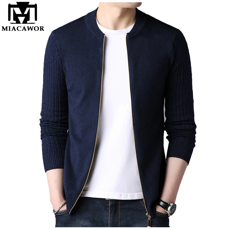 MIACAWOR Sweater Men Cardigan Blusa De Frio Masculino Solid Casual Knitwear Sweater Slim Fit Zipper Sweater Pull Homme Y061