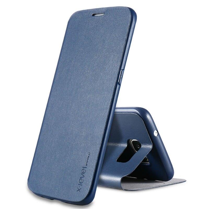 bilder für X ebene Fall Für Samsung Galaxy S7 rand Luxus PU + TPU Leder Flip Handy Fall
