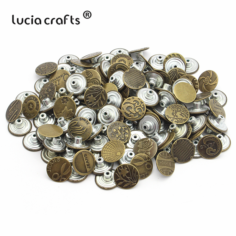 D74B1 6 CT. 20 mm No-Sew Brass Replacement Jean Tack Buttons