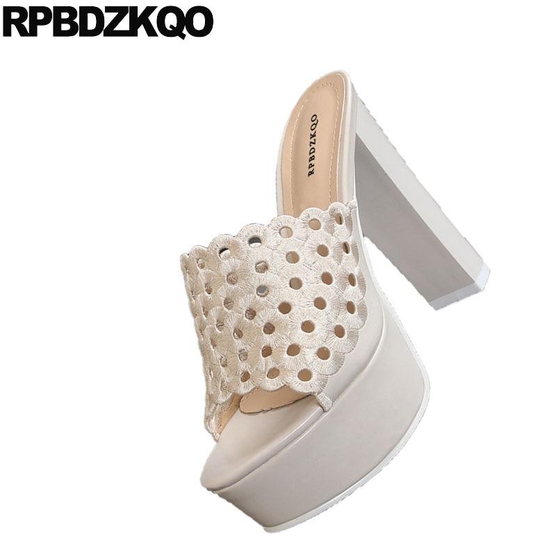 Cuadrado negro Fetiche Alto Diseñador 2017 Lujo Tacón Verano Sandalias Diapositivas Zapatos Fornido Zapatillas Beige Bloquear Mujeres Señoras Gótico Grueso Beige De Plataforma FIrFw
