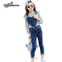 Girls Infant Denim Overalls Pocket Heart Pattern Jumpsuits Toddler Button Skinny Bib Trousers Spring Autumn Baby
