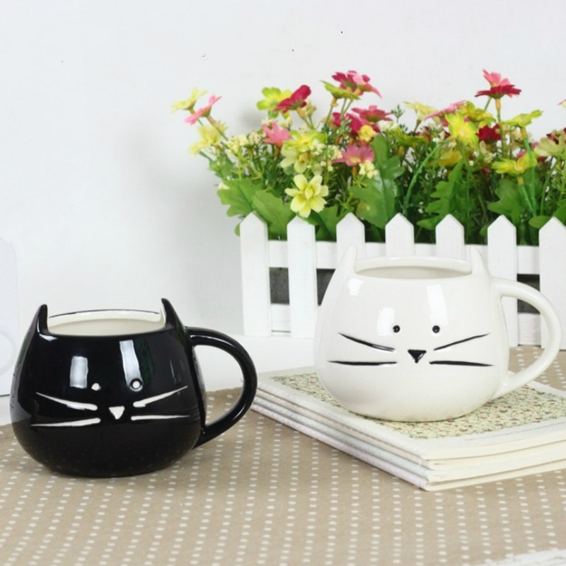 300ml cute cat coffee mug creative ceramic cup  funny mug Milk breakfast cup with handle