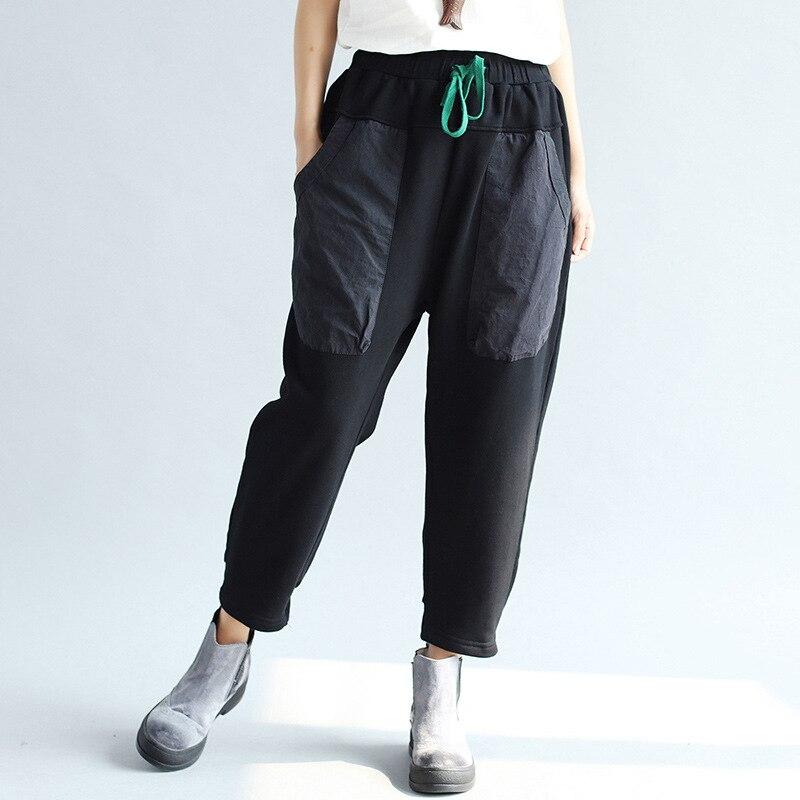 Johnature Black Pants Trouser Women Waist-Pockets Elastic Autumn Cotton Casual New Loose
