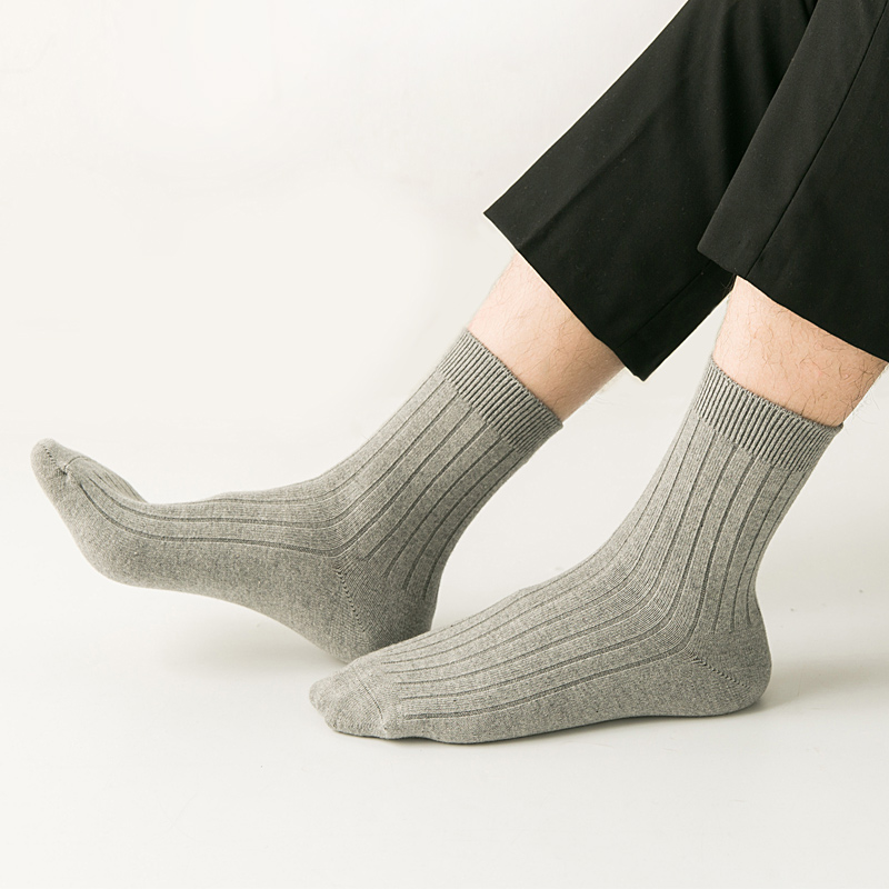 100% Cotton Business Casual Soft Socks Crew Men Ankle Autumn Breathable Soft Medium Thickness Long Socks 1Pair