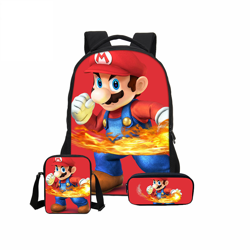 3pcs/Set VEEVANV School Bag Super Mario Printing Backpack Children Combination Bookbag Fashion Boy School Backpack Daily Mochila hynes eagle 3 pcs set 3d letter bookbag boys backpacks school bags children shoulder bag mochila girls exo printing backpack