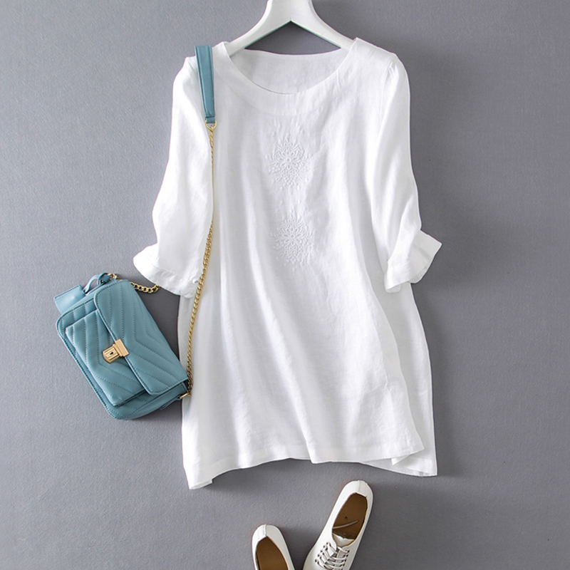 Лето-осень три четверти рубашка Для женщин белье блузка рубашка Вышивка Пуловеры Рубашки M/L