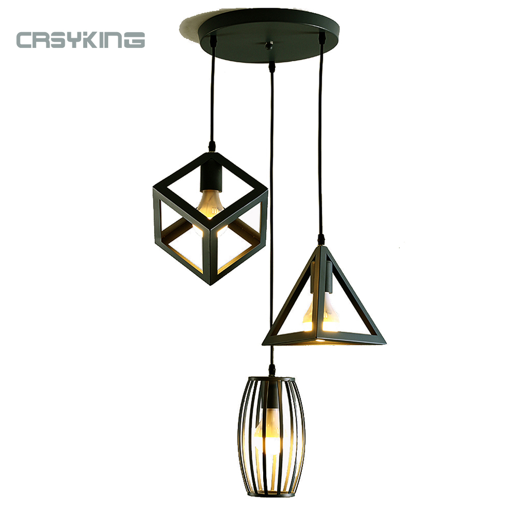 Modern Cage Pendant Lamp Iron Minimalist Retro Edison Pendant LED Lights Nordic Black Metal Lights For Home With E27 LED Bulb