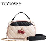 TOYOOSKY New Arrival Cherry Women Handbag Casual Panelled Sweet Women S Shoulder Messenger Bag Plaid Ladies