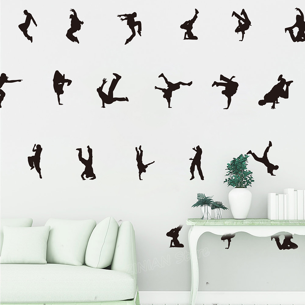 18 PCs Hip Hop Dancer Street dance Wall Decal Kids Room Bedroom Break dance Rap Young Club Wall Sticker Graffiti Vinyl Decor(China)