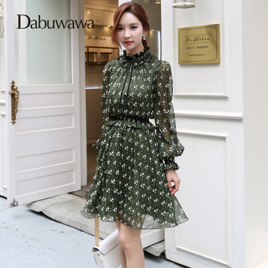 47fb5d46a06f Aliexpress.com : Buy Dabuwawa Green Autumn Floral Print Dress Long Sleeve  Vintage Blouse Dress A Line Chiffon Dress from Reliable floral print dress  ...