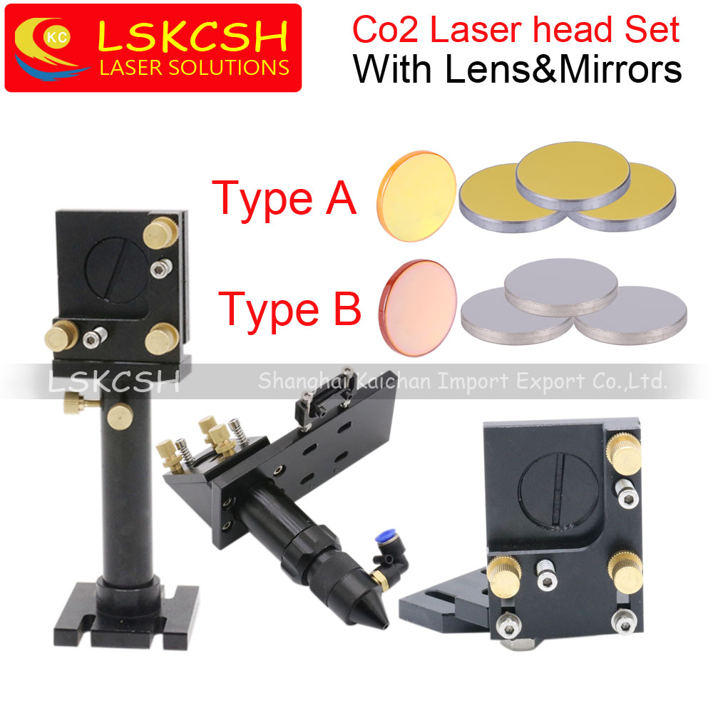 LSKCSH Co2 Laser Cutting Head Set Mirror Mounts Holder+1pcs Focusing Lens+3pcs Si/Mo Reflective Mirrors For Co2 laser cutting mo materials co2 laser lens mirrors 20mm diameter 95% reflecting rate