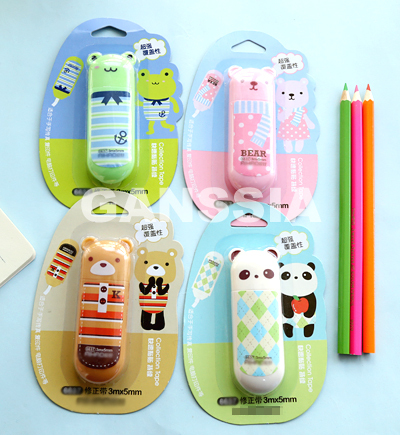 1pc/lot Cartoon tapes/Bear/Frog/Panda series Cute animals correction tapes for stationery Office School supplies(ss-a1003)