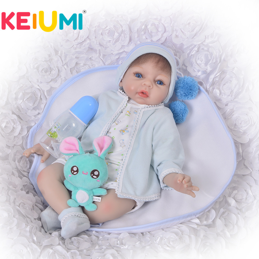 KEIUMI Lifelike Reborn Doll 22 Inch Soft Silicone 55 cm Real Life Baby Doll Toy For Boy Fashion Doll Children Birthday Gifts keiumi 22 55 cm realistic baby alive boy doll soft silicone vinyl lifelike reborn doll toy for toddler birthday xmas gifts