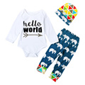 Baby Boy Clothes Set Hello World Anchor Long-sleeve Bodysuits Romper + Triangle Beanie Hat + Elephant Pants Trousers YM38TZ