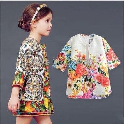 Suit! Dress+Jacket Flower Print Dress Set 2015 New Models Brands Children Dress Girls Spell color High-end Quality Meninas Dress