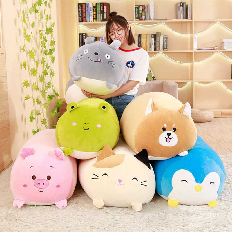 Soft Animal Cartoon Pillow Cushion Cute Fat Dog Cat Totoro Penguin Pig Frog Plush Toy Stuffed Lovely kids Birthday Gift  Kawaii