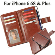 Wallet Case for iPhone 6 S Leather Case Card Holder for iPhone 6 S Plus Flip Case Cover with Photo Frame 6S 4.7 Phone Bags Pouch