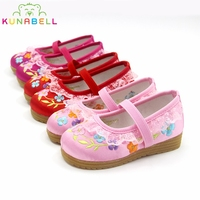 Girls Old Peking Dancing Shoes Children Mary Jane Flower Embroidery Chinese Traditional Shoes Kids Princess Shoes