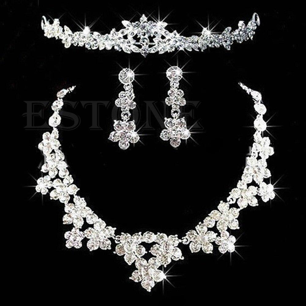 Bridal jewelry tiara - A40 Wedding Bridal Crystal Rhinestone Jewelry Set Necklace Earrings Tiara Crown Hot Sale China