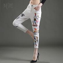 2017 Jeans Women Casual Denim Ankle-Length Boyfriend Pants Women Loose Print Pantalon Femme Casual White Harem Pants Female