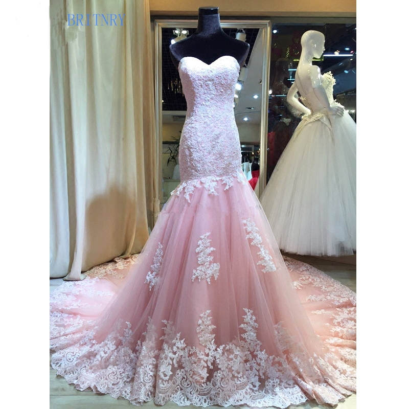 US $219.0 |BRITNRY Sweetheart Pink Wedding Dress Mermaid Lace Tulle Wedding  Dresses Plus Size High Quality Bridal Dresses 2018-in Wedding Dresses from  ...