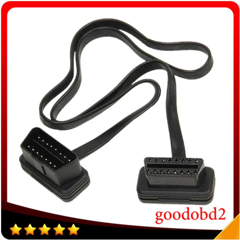 Flat Thin As Noodle OBD2 16Pin ELM327 Male To Female Elbow Extension Cable Light
