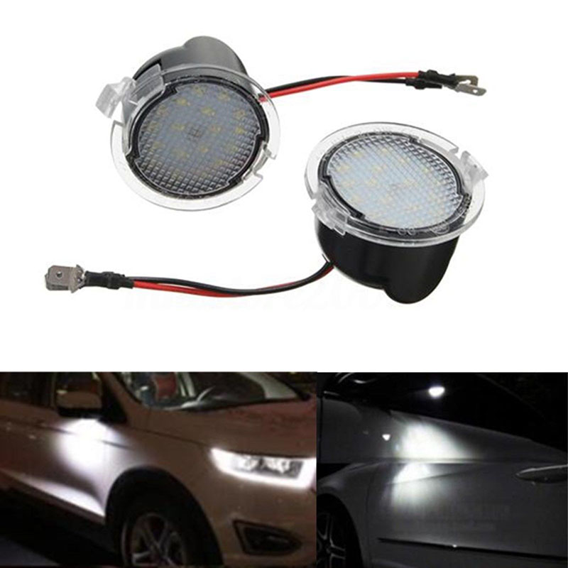 JX-LCLYL 2pcs LED Side Mirror Puddle Lights For Ford Edge Mondeo Explorer Taubus White ...