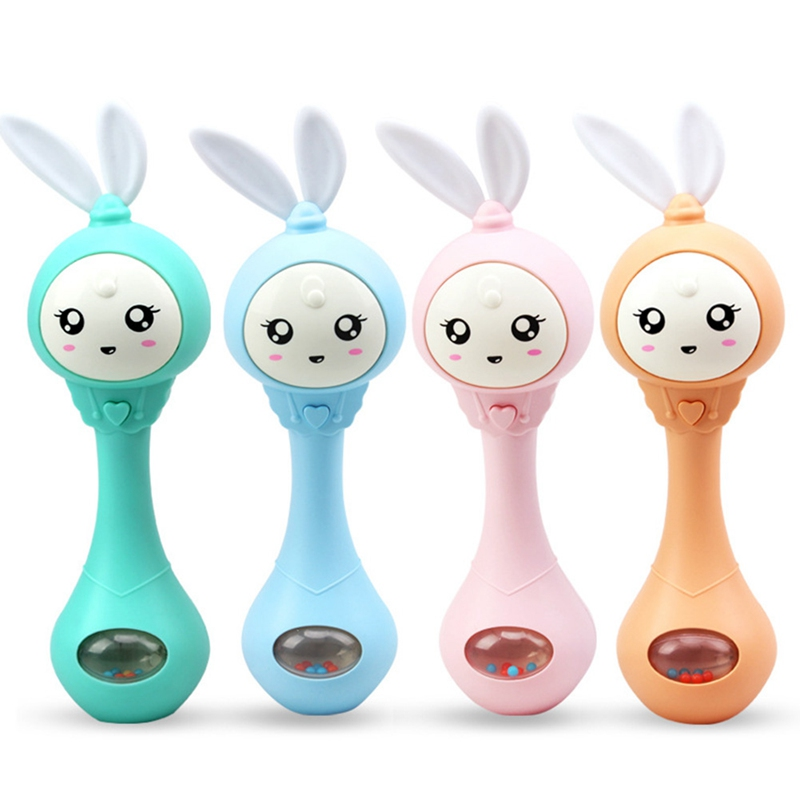 Baby Hand Bells 4 Color Toys Puzzle music and Light Shaking Rattles 6-12 Months Sound and light rhythm induction