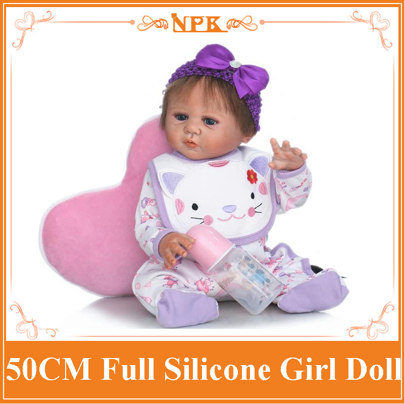 Adorable 50CM NPK Full Body Silicone Reborn Baby Doll Lifelike Newborn Girl With Hair Band&Cute Clothes Toy Boneca For Baby Girl full set top quality 60 cm pvc doll 1 3 girl bjd wig clothes shoes all included night lolita reborn baby doll wedding price shas