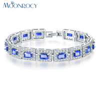 MOONROCY Free Shipping Jewelry Silver Color Square Blue Green Red Black Crystal Bracelet Bangle For Women
