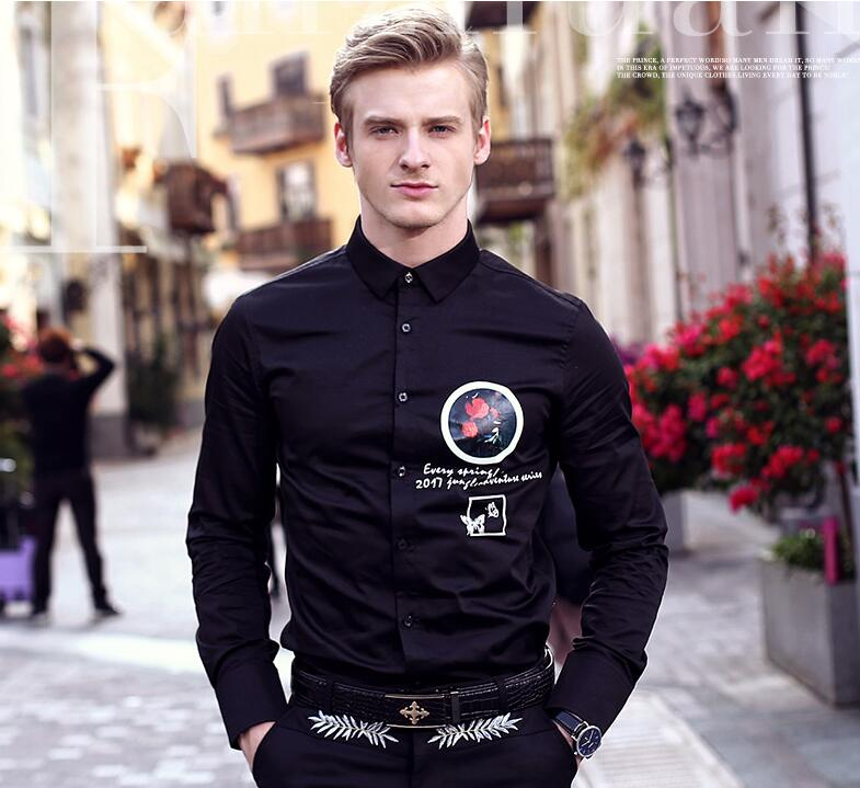 9256169fcd5 FanZhuan 2017 Free Shipping New fashion casual male men s personality Court  long sleeved Black Slim shirt