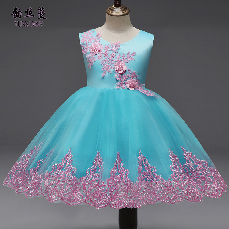 Elegant Toddler Girl Dresses 12 18 24 Months 3 4 5 Years Flower Embroidery Party Princess