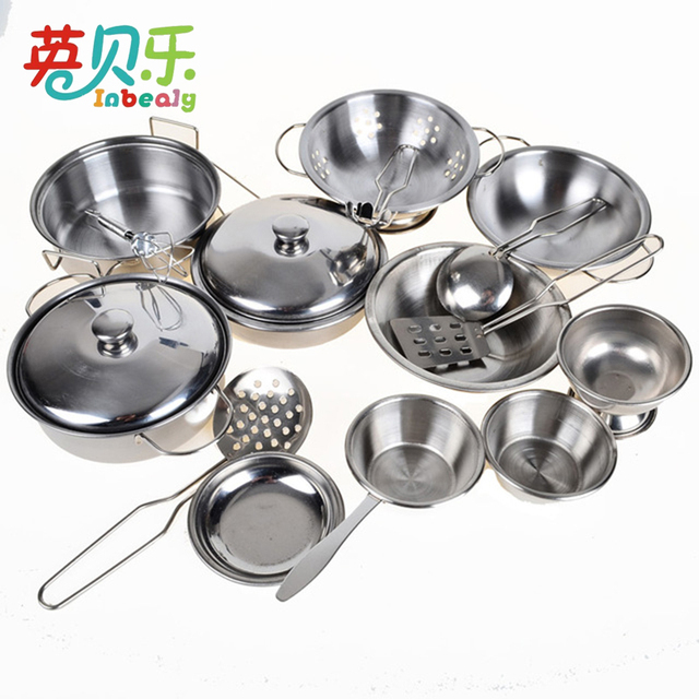 16pcs Pretend Play Stainless Steel Kitchen Pots Pans Cookware Kits Food Toys Educational Role Toy