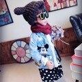 2016 otoño ropa de los niños pantalones vaqueros del bebé ropa bebé chaqueta de jean de Animación de Dibujos Animados Ratón cabritos encantadores