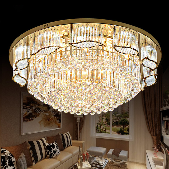 New Gold Luxury Living Room Crystal Round Lamp Ceiling Chandelier Bedroom Light Atmosphere Warm Lighting Lamps