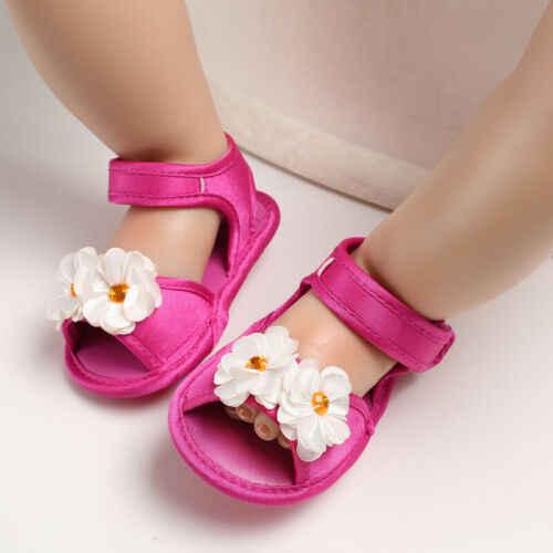 2019 Marca Infantil Criança Bebê de Crianças Meninas Sandálias de Sola Macia Princesa Flor PU Sapatos de Velcro Sapatos de Bebê Verão 0- 18 M