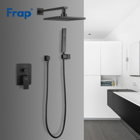 Frap Modern Bathroom Shower Faucet Brass Black Square Rainfall Shower Mixer Tap Bathtub Faucet Waterfall Bath Shower Taps Y24023