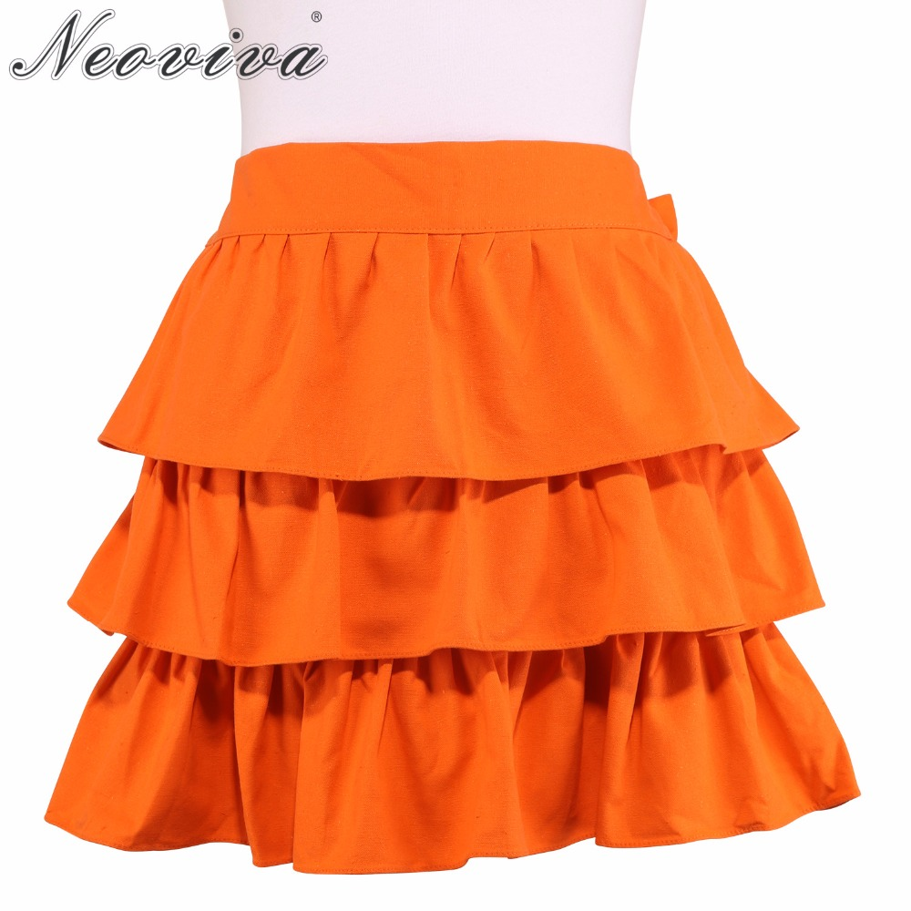 Neoviva Cotton Canvas Waist Apron for Adult Women with Ruffles Susan Solid Flame Orange Hot Summer Sexy Women's  Skirts Aprons