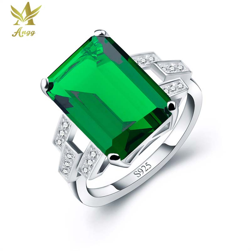 ANGG Women 5.9ct Green Nano Russia Created Emerald Ring Real 925 Sterling Silver Ring Wedding & Engagement Jewelry Square Rings