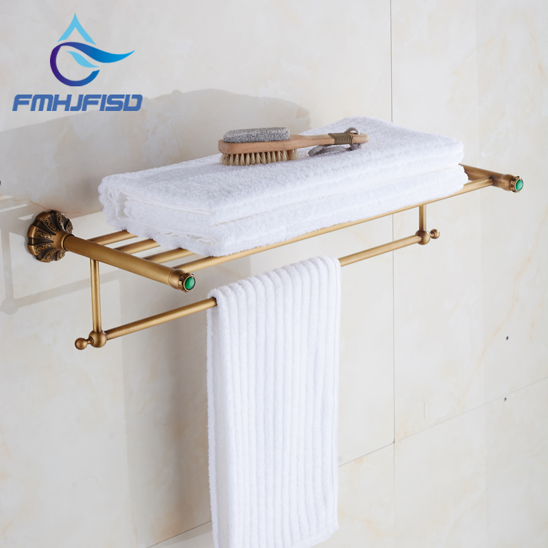 Fashionable Design Bathroom Towel Shelf Antique Brass Shelf Storage Holder Wall Mounted whole brass blackend antique ceramic bath towel rack bathroom towel shelf bathroom towel holder antique black double towel shelf