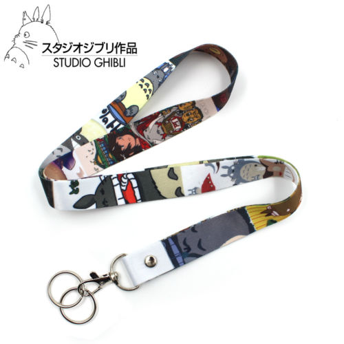 Anime Ghibli My Neighbor Totoro Catbus Satin Cell Phone Rope Chain Strap Clip Cord Charm Lariat Lanyard Keychain Keyring Gift