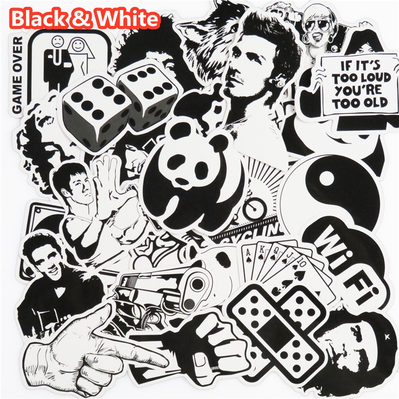 101 Pcs Black and White Sticker Snowboard Car Styling Sleigh Box Luggage Fridge Toy Vinyl Decal Home decor DIY Cool Stickers