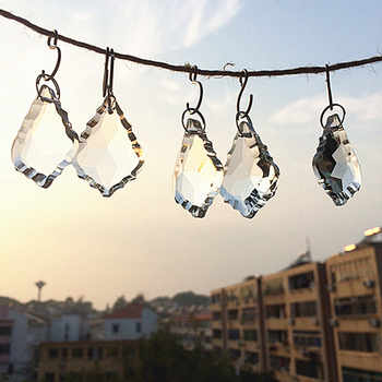 380pcs/LOT 38MM clear crystal glass maple leaf shape pendants for chandelier parts, Crystal suncatcher lighting hanging drops