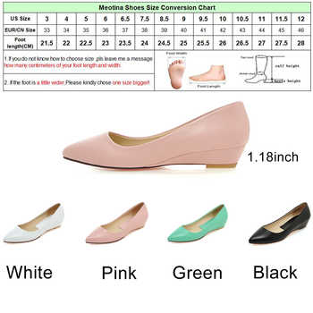 Meotina Spring Women Shoes 2019 Comfort Casual Shoes Pumps Low Heels Black Ladies Wedges Shoes White Green Plus Size 9 10 41 43