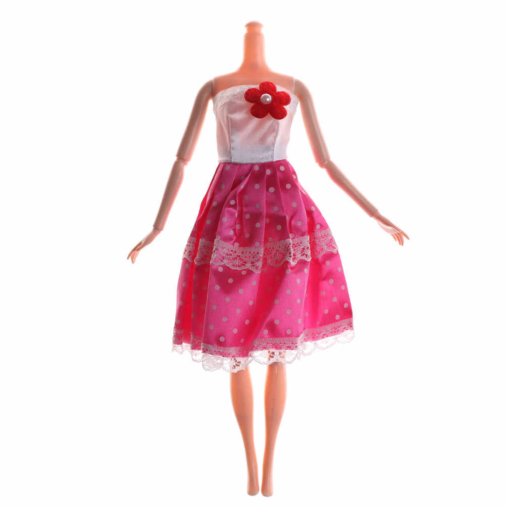 Güzel Etek Parti Elbisesi Orijinal Bebek Bir Set Orijinal oyuncak bebek giysileri Çiçek Pembe Elbise