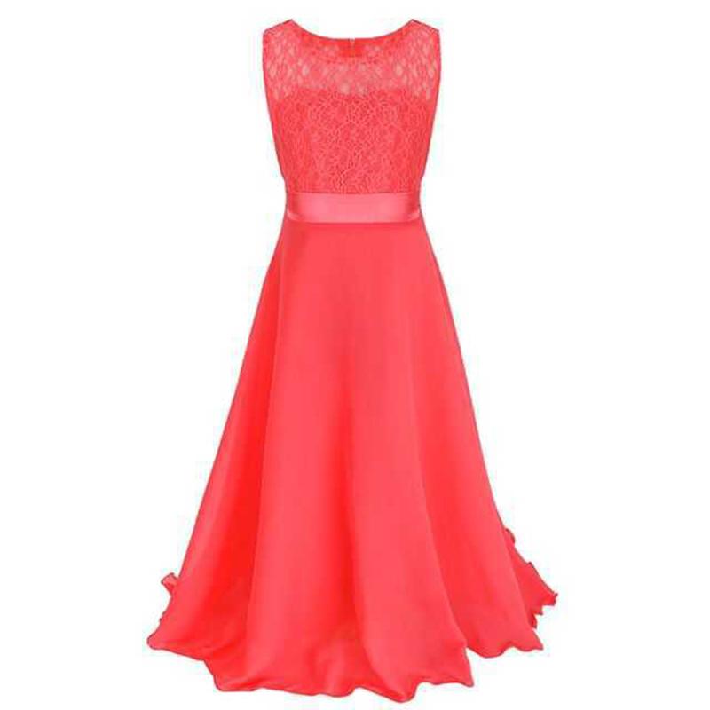 Summer Girls Dress Chiffon Sleeveless Infant Long Dress O Neck Girl Wedding Dresses Lace Kids Party Clothes Children Clothing (18)