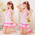 Sexy chemises Promotional young girl white with pink dot sexy lingerie mesh hemline low cut soft nightwear sweety sexy sleepwear
