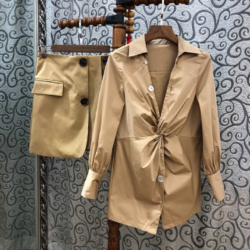 Vêtements Bouton Ensemble Costumes Printemps Tunique Minijupe À 2019 Ensembles Et Chemise Designer Longues Femmes Travail Mode Grade Jupe Costume Manches Haut EFxSq4E